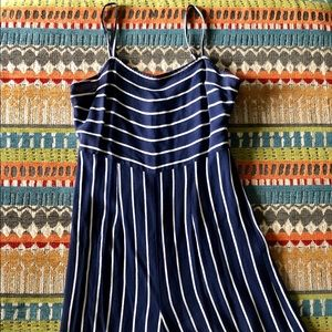 Blue and White Striped Cropped Jumpsuit